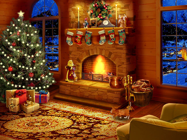 3. Christmas fireplace