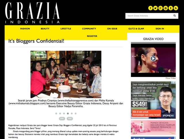 Pradnya Cinantya Anya Blogger Confidential Grazia Indonesia